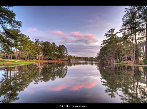 sunset sky lake reflection sc landscape columbia windsor shores hdr