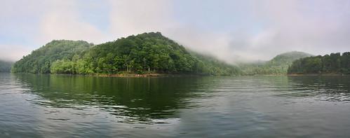 morning panorama sun mist lake fish nature water fog boat spring kentucky ky bangor menifee caverun danielboonenationalforest dbnf brendasrock