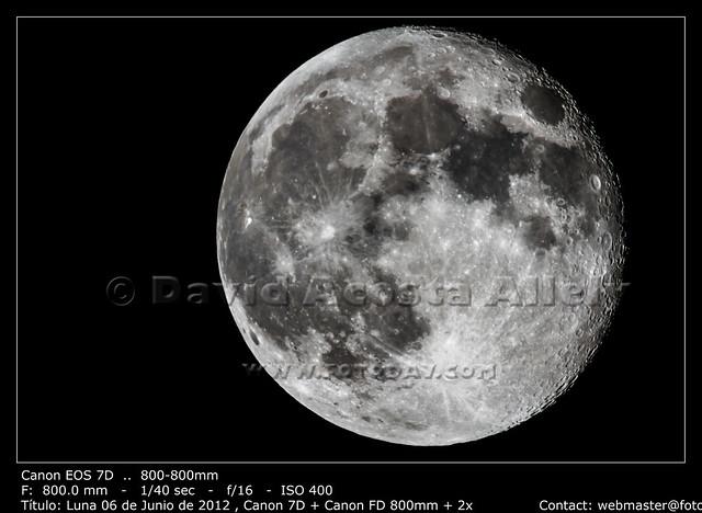 Luna 06 de Junio de 2012 , Canon 7D + Canon FD 800mm + 2x