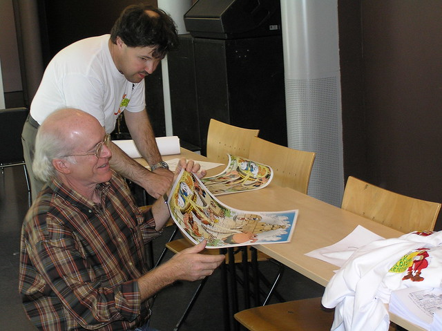Don Rosa and Sigvald with a poster