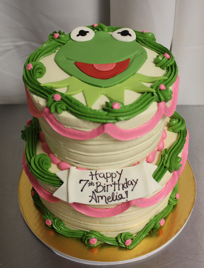 Terrific Kermit Frog 2 Tier Gourmet Oakleaf Cakes Flickr Funny Birthday Cards Online Sheoxdamsfinfo