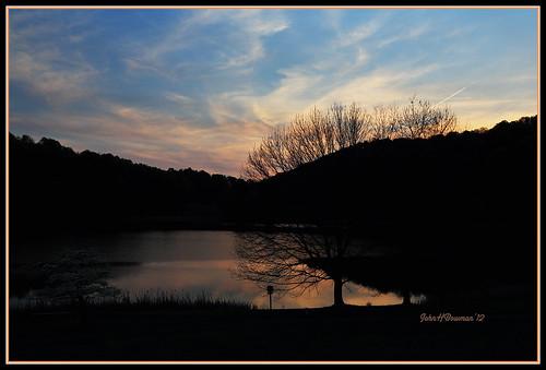 reflections virginia parks silhouettes sunsets april nationalparks blueridgeparkway 2012 bedfordcounty peaksofotter virginiamountains abbottlake lakesandponds canon241054l april2012