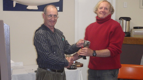 Ian Wallace receiving 1st Senior Trophy for Friday Night Series   by PLSC (Panmure Lagoon Sailing Club)