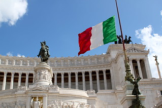 Italian flag at half mast for the earthquake and the bombing | by ohsarahrose