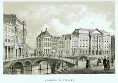 <p>Gezicht op de Oudegracht te Utrecht uit het zuidwesten met de Bezembrug; links de Winkel van Sinkel en op de achtergrond de huizen aan de Stadhuisbrug met het stadhuis. Prent uit een serie, aangekondigd als advertentie in de Utrechtse Provinciale en Stadscourant van 1853, nr. 32 (advertentie nr. 1135) en nr. 61.  Coll. Het Utrechts Archief.</p>