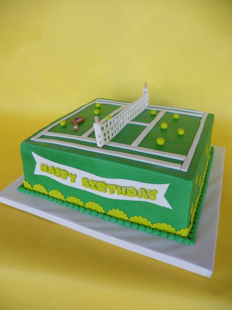 Remarkable Tennis Court Birthday Cake Amy Stella Flickr Funny Birthday Cards Online Alyptdamsfinfo