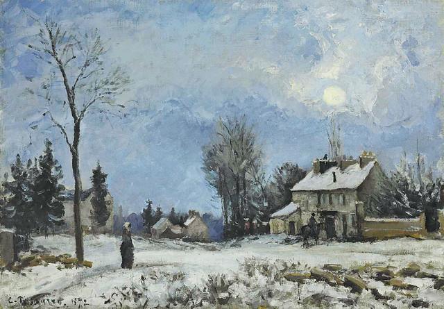 Camille Pissarro - Le relais de poste, route de Versailles, Louveciennes, neige [1872]