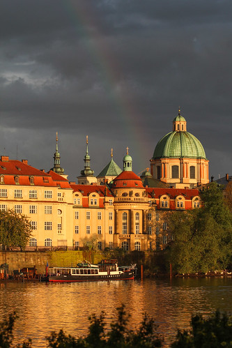 travel sunset reflection architecture boat rainbow prague historicbuilding chechrepublik