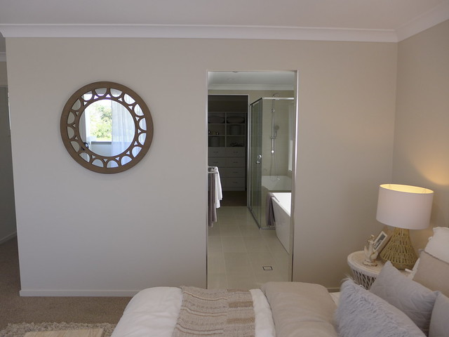 Master bedroom of a two-storey display house by Ausbuild in Doolandella (southwest Brisbane)