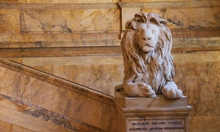 Lion statue, Boston Library   by augustinecollective