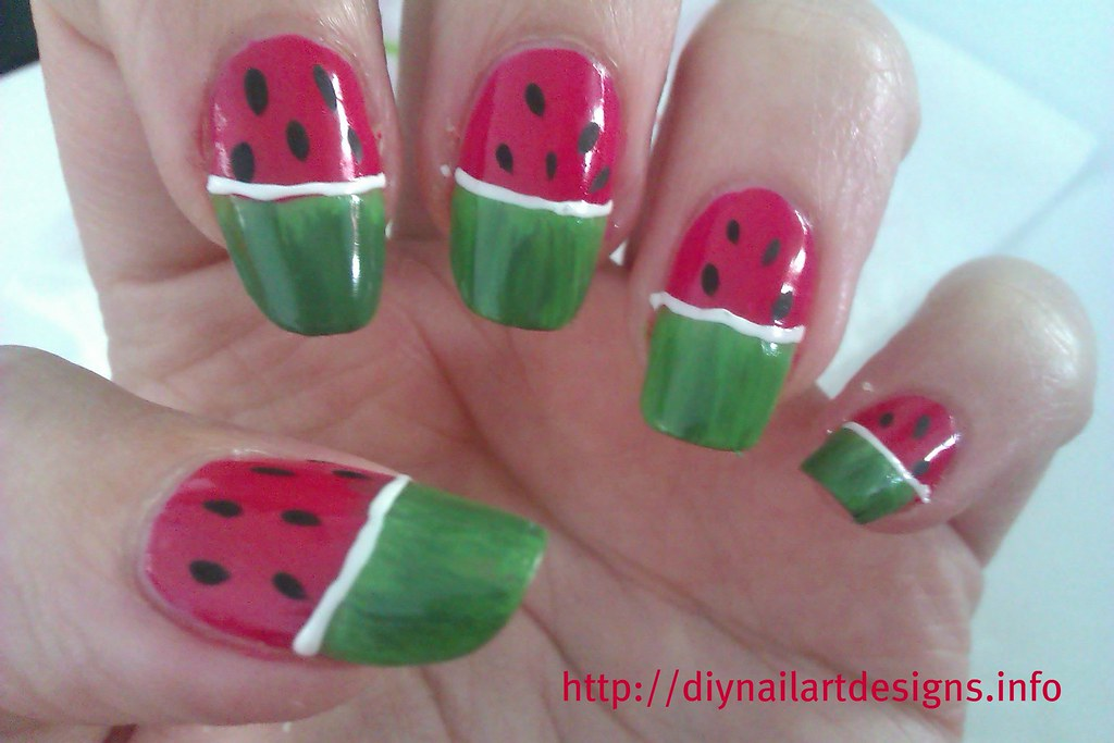 DIY Nail Art Designs: Quick and Simple Watermelon Nails Tu… | Flickr