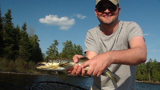 Scott with a solid Landlocked Salmon from the Kennebec River | by Maine River Guides