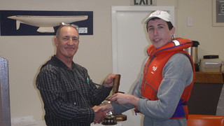 Andrew Coffin receiving Junior Club Champ Trophy for 1st Junior   by PLSC (Panmure Lagoon Sailing Club)