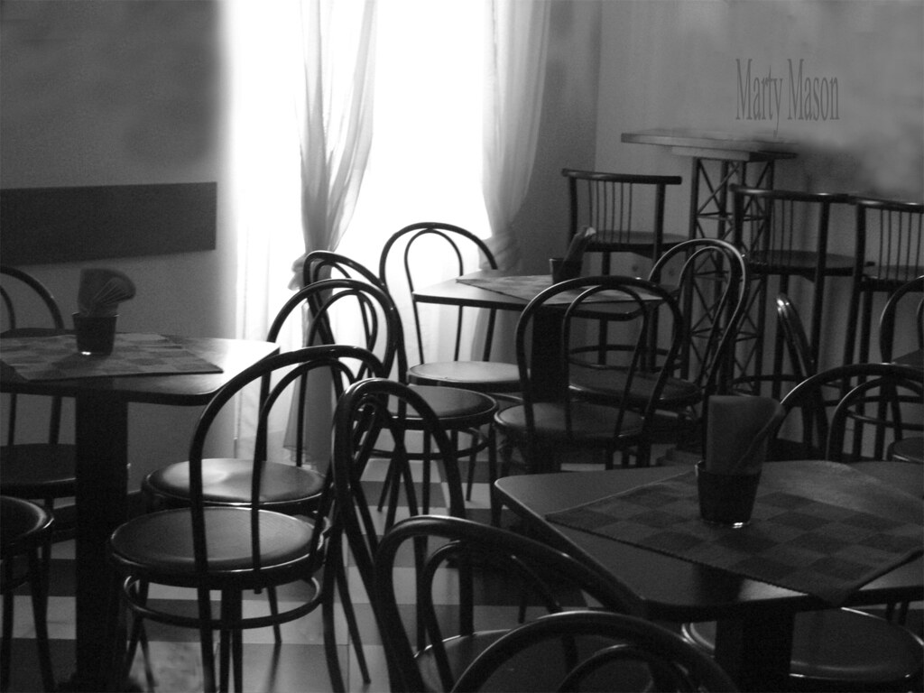 ... Italy 2012 Empty Cafe In Black And White | By Martys Fiber Musings