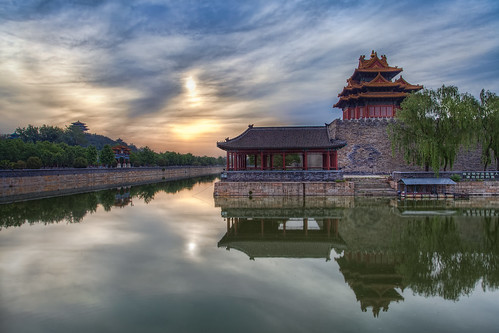 china park city morning travel blue orange reflection water sunrise canon reflections temple early chinese beijing forbidden forbiddencity jingshanpark moat ming 1740 dynasty qingdynasty qing jingshan mingdynasty promote canon5dmkii canon5dmk2 mygearandme