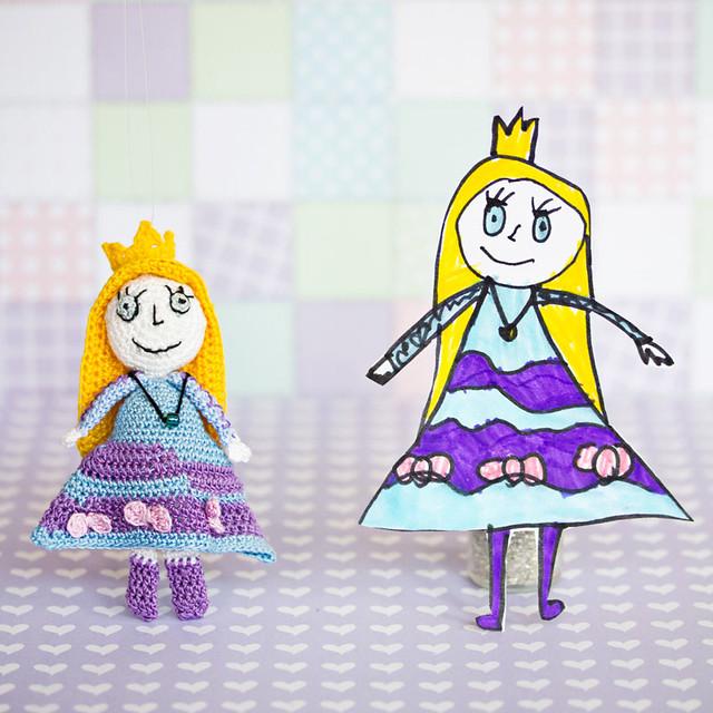 Princess drawing in crochet
