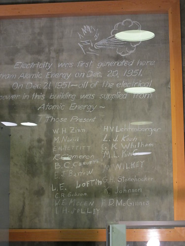EBR-1: Actual chalk written on the wall the night of the first successful test of the reactor | by mormolyke