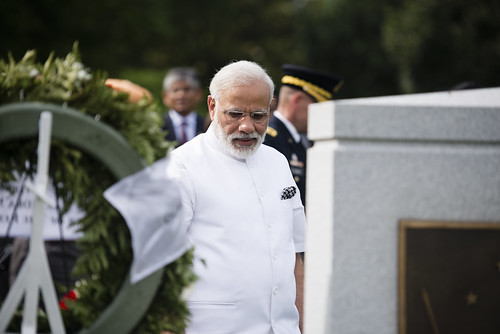 Prime Minister of India lays a wreath at the Tomb of the Unknown Soldier in Arlington National Cemetery