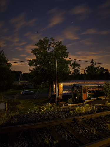 county new railroad sky panorama black cars station museum night train river long exposure br nj rr western jersey passenger brw ringoes hunterdon