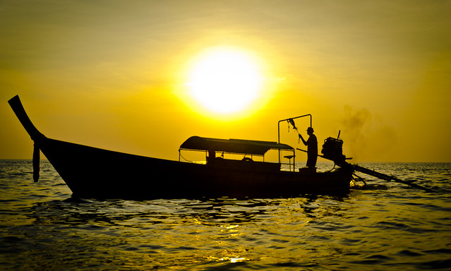 Sunset from Longtail Boat, near Koh Phi Phi, Thailand