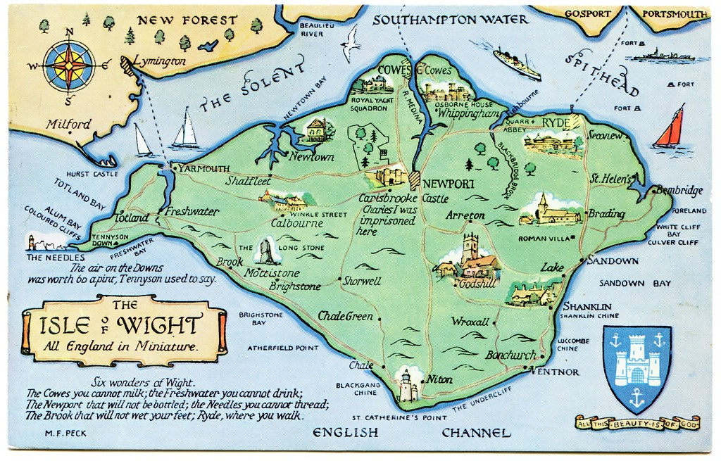 Map Of The Isle Of Wight Postcard map of the Isle of Wight | Drawn by M F Peck. J Sal… | Flickr