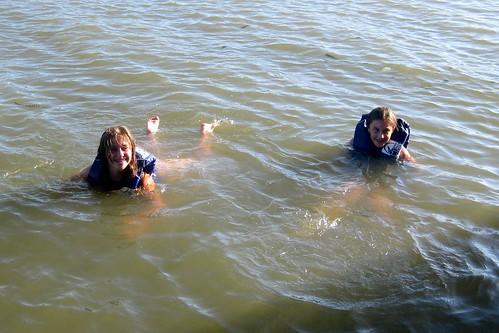 Alyson & Iz swimming