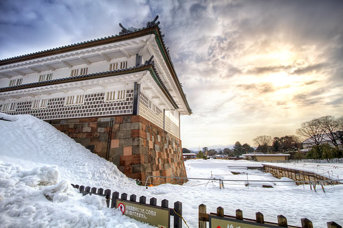 winter white snow castle ice water japan sunrise landscape day cloudy 日本 walls moat 雪 冬 hdr kanazawa 金沢 寒い 日出 日の出 金沢城 ishikawaprefecture kanazawacastle 金沢市 agustinrafaelreyes