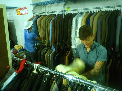 Whitney Brown and Scott Hannan at the Soul Train Suit Warehouse. Photo by Melanie Merz.