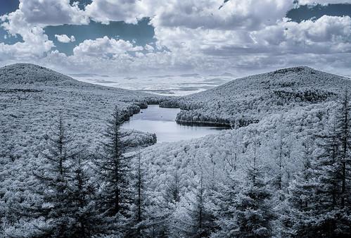 pond summer supercolorir landscape infrared grotonstatepark owlsheadoverlook groton vermont mountain kettlepond lifepixel unitedstates us