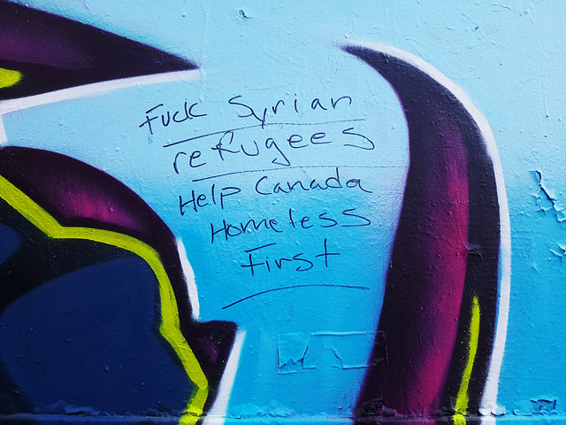 Anti-refugee graffiti