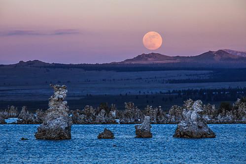 Sunset Full Moon Rise over Mono Lake