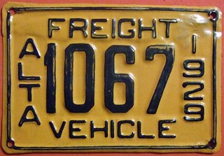 ALBERTA 1929 ---FREIGHT VEHICLE SUPPLEMENTAL PLATE