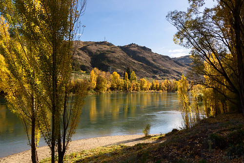 autumn trees newzealand sky clouds reflections landscape clyde shadows scene hills autumncolours southisland centralotago autumncolour cluthariver manuherikiavalley tripdownsouth populartrees