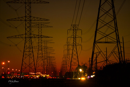 sunset cars lights poer texas towers houston electricity np pwerline wyojones