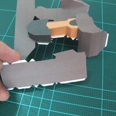 วิธีทำโมเดลกระดาษ ตุ้กตาไลน์ หมีบราวน์ ถือพลั่ว (Line Brown Bear With Shovel Papercraft Model -「シャベル」と「ブラウン」) 016