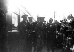 Arrival of the Prince of Wales at Gawler Railway Station, 12 July 1920  Being greeted by the Premier of South Australia, the Honourable H N Barwell and the Mayor of Gawler, James Busbridge (far right)