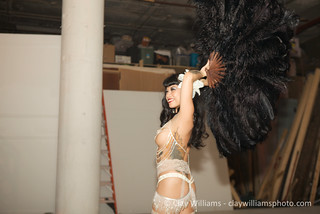 The lovely Calamity Chang performs burlesque after dessert. | by Emily Cavalier