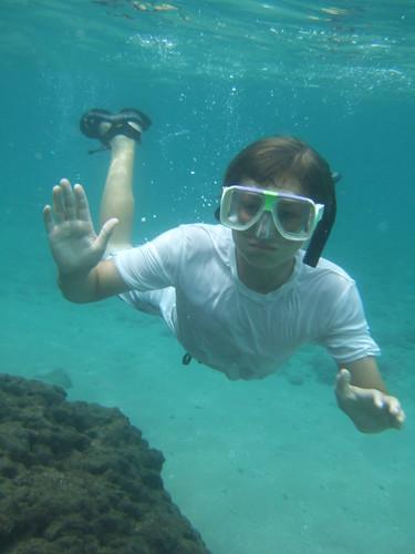 Erik cruises by underwater.