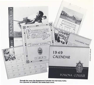 A collage of Pomona College Engagement Calendar images from the summer 1992 issue of Pomona College Today