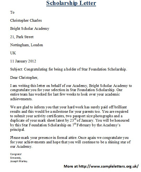 Scholarship Letters | For more and various scholarship lette