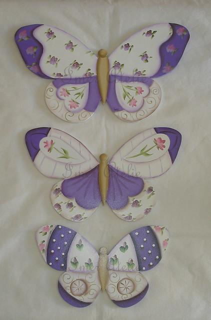 trio borboletas lilas
