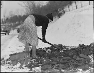 Scott's Run, West Virginia. Woman gathering coal, March 1937