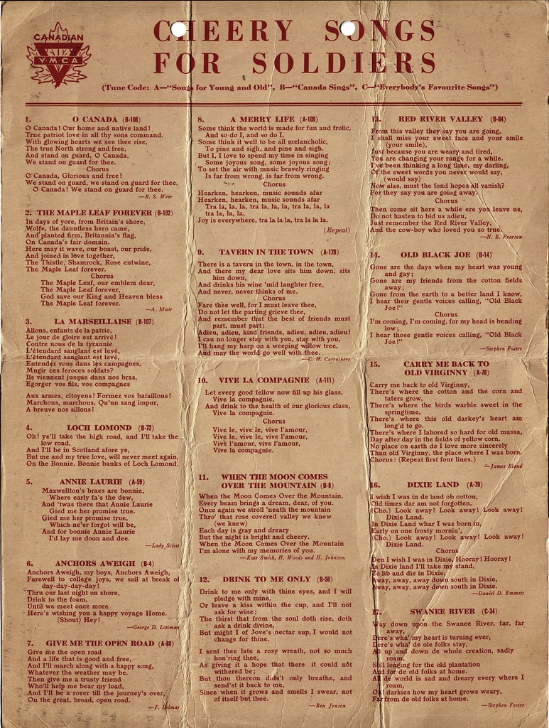 Cheery Songs for Soldiers p 1 | Sheet of song lyrics printed