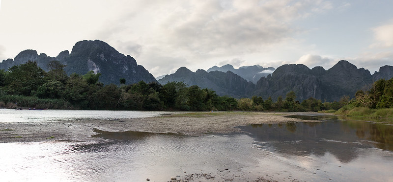 Vang Vieng mountains at sunset, Laos