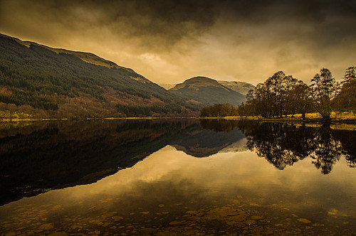 lochvoil tranquility reflection trees hills mountains trossachs balquhidder perthshire scotland clouds lake