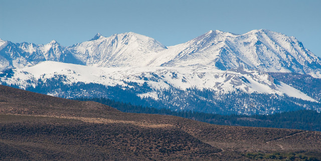 The Sierras near Mammoth Lakes from a viewpoint on Highway 395