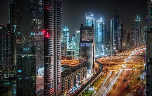 dubai uae architecture center city cityscape future longexposure neon night nightphotography skyline skyscraper street traffic ~themagicofcolours~ii