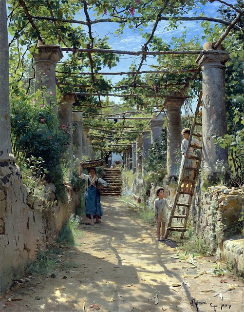 Monsted, Peder Mork (1859-1941) - In the Shadow of an Italian Pergola (Private Collection)