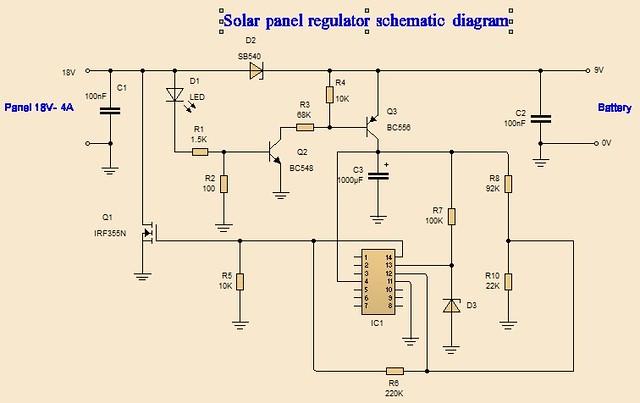 Solar Panel Regulator Schematic Diagram