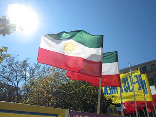 Iranian flags at MEK protest